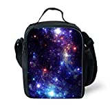 Ledback 3D Galaxy Kids Lunch Bag, Insulated Lunchbox Black Lunch Box for Children Boys Girls 16 Inch School Bag with Bottle Holder Lightweight Book Rucksack