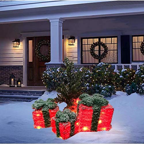 SNOWSTORM Christmas Lighted Gift Boxes Covered with Snow, Set of 3 Indoor Outdoor Present Box for Pathway Home Yard X-mas Holiday Party Decorations