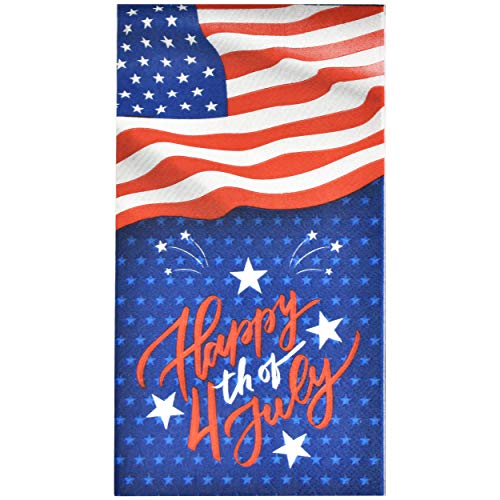 100 Happy 4th of July Patriotic Guest Napkins 3 Ply Disposable Paper Pack Elegant Holiday American Flag Dinner Hand Towel Napkin Red Blue White Star & Stripes Celebrate Banquet Party Decorative Towels