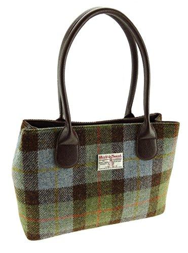 Damen Harris Tweed grün kariert Classic Handtasche lb1003col28 Gr. 25 cm H x 38 cm W x 11 cm D ,...