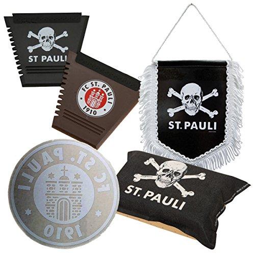 FC St. Pauli 5-teiliges Auto-Set Innen - Auto-Aufkleber, 2 Eiskratzer, Scheibenschwamm, Wimpel Totenkopf Logo