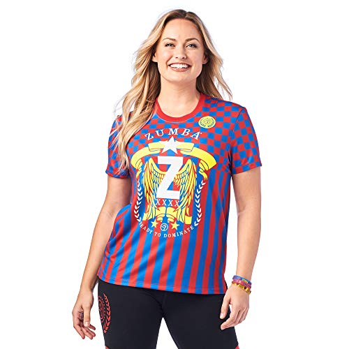 Zumba Loose Fitting Dance Fitness Graphic Tees Athletic Workout Top For Women Camisa, Muy Rojo/Y, XL para Mujer