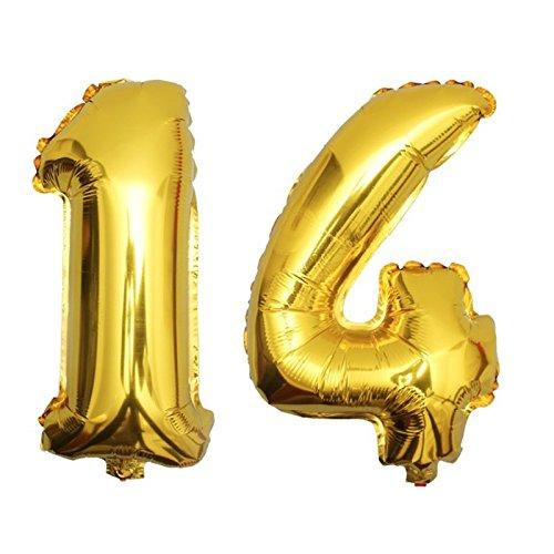 DekoRex® 14 Globo en Oro 80cm de Alto decoración cumpleaños para Aire número