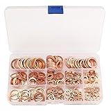 DollaTek 8 Tamaños Arandelas de cobre macizo Conjunto de la arandela del surtido del surtidor Caja de plástico Accesorios profesionales del hardware - 280PCs