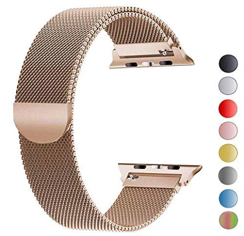 Tervoka Ersatzarmband kompatibel mit Apple Watch Armband 44mm 42mm | Edelstahl Armband | Smartwatch Ersatzarmbänder mit Magnet kompatibel mit iWatch Series 5/4/3/2/1 Gold