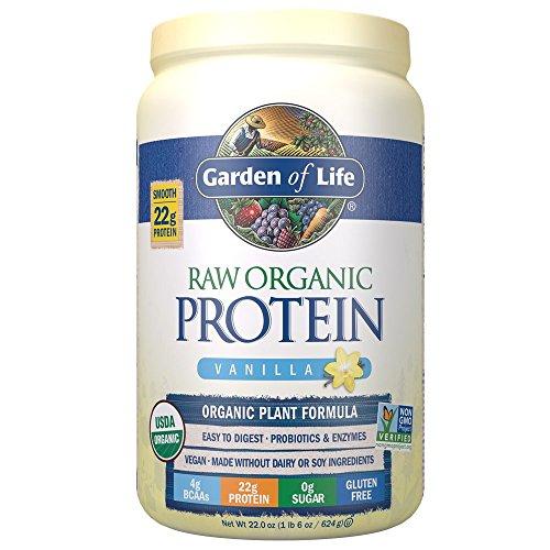 Garden of Life Raw Organic Protein Vanilla Powder, 20 Servings - Certified Vegan, Gluten Free, Organic, Non-GMO, Plant Based Sugar Free Protein Shake with Probiotics & Enzymes, 4g BCAAs, 22g Protein