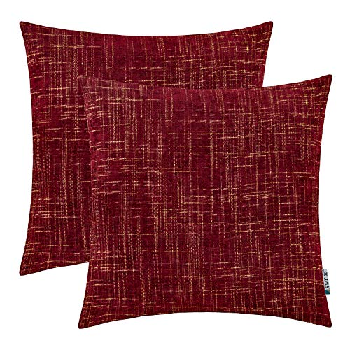 HWY 50 Decorative Throw Pillows Covers Soft Comfy Chenille Square Pillows Covers Set Cushion Cases for Couch Sofa Bedroom Burgundy Wine Red with Striped Gold Farmhouse Decor 18 x 18 inch Pack of 2