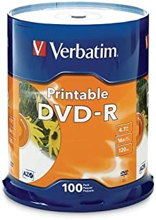 Wholesale CASE of 5 - Verbatim White Inkjet Printable DVD-R Spindle-DVD-R, 16x, 4.7GB, Inkjet Printable, 100/PK, White