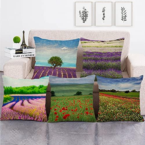 Lyotreiocvniszx 45 cm x 45 cm flores presentadas manta cojín lino algodón sofá funda almohada decorativa