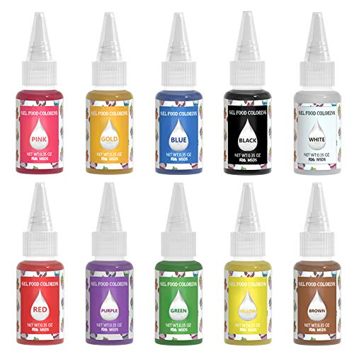 Gel Food Coloring Set for Cake Decorating - AGQ Edible Neon Gel Based Food Color, 3.5Oz Concentrated Food Dye Tasteless Icing Colors for Kids Baking Cookies Macaron Fondant Cupcake Frosting Slime