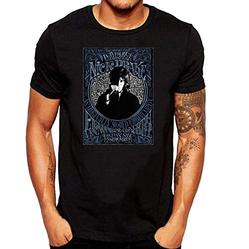 SEVENSIQI Nick Drake Poster Hombre Short Sleeve Neck Camiseta/T Shirt Black