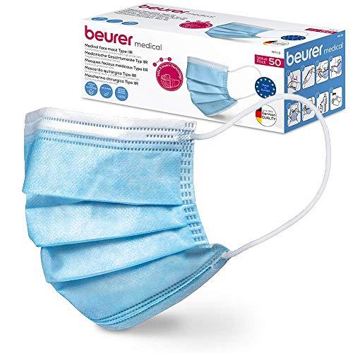 Beurer MM 15 OP-Maske Typ IIR, Made in EU, 3-lagige Medizinische Gesichtsmaske schützt Ihr Umfeld gegen Tröpfchen und Mikroorganismen, wärmeabsorbierend, 50 Stück
