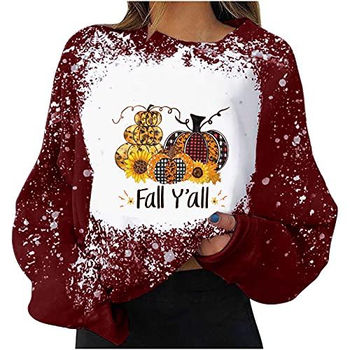 Sudadera de Navidad para mujer, adolescente, niña, Halloween, Acción de Gracias, camiseta de manga larga, cuello redondo, Rojo-d, S