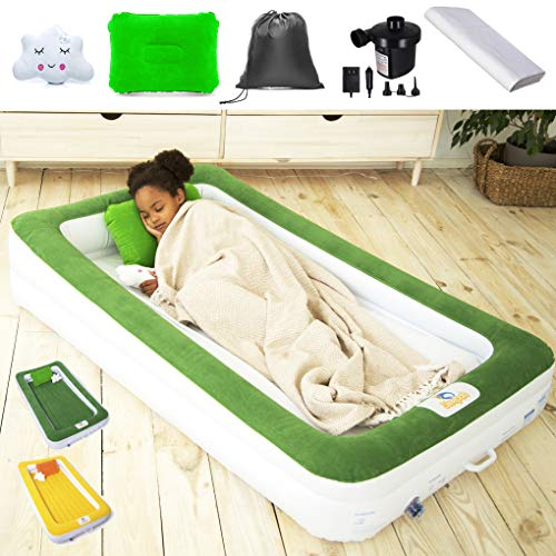 Sleepah Inflatable Toddler Travel Bed – Children Portable Air Mattress Set – Blow up Mattress for Kids W/All Around High Safety Bed Rails. Indoor Outdoor! W/Pump, Sheet, Case, Pillow & Toy Green