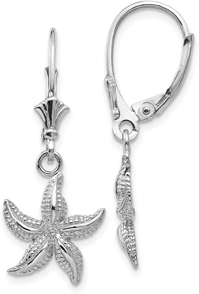 14k White Gold Starfish Leverback Earrings Lever Back Drop Dangle Animal Sea Life Fine Jewelry For Women Gifts For Her