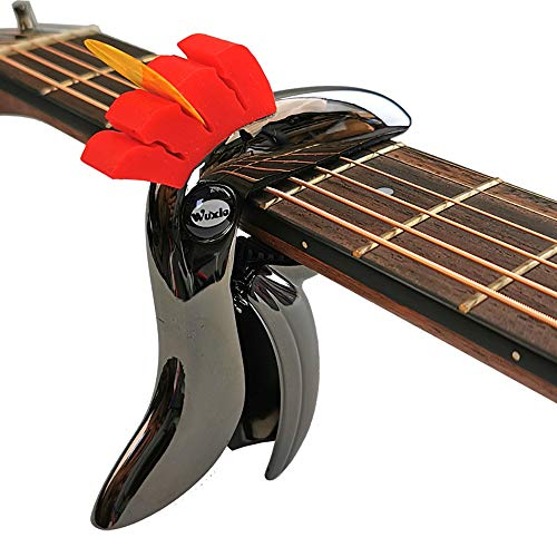Wuxic Toucan Guitar Capo for Acoustic Folk and Electric Guitars,Ukulele,Banjo and Mandolin. Guitar Accessories(with Pick Holder) (Gray crown)