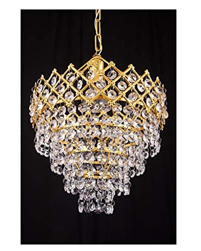 Prop it up Lighting Austrian Crystal (k-9/Asfour) Small Size Chandelier/Pendant Light for Single Bulb Best Suitable for Dinning Hall Rooms ares (Golden Hanging)