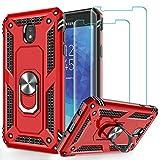 Galaxy J7 2018/J7 Aero/J7 Top/J7 Crown/J7 Aura/J7 Refine/J7 Eon Case with Tempered Glass Screen Protector [2Pack], Jshru Military Grade Ring Car Mount Kickstand Phone Case for Samsung J7 2018 Red
