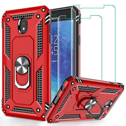 Galaxy J7 2018 Case,Samsung Galaxy J7 Aero/J7 Top/J7 Crown/J7 Aura/J7 Refine/J7 Star/J7 Eon Case with Screen Protector, Jshru 360° Rotating Ring Kickstand Case for Samsung J7 2018, Red