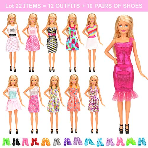Barwa 22 Pcs Doll Clothes Outfit Accessories for 11.5 Inch Doll Include 10 Fashion Dresses & 10 Pairs of Shoes