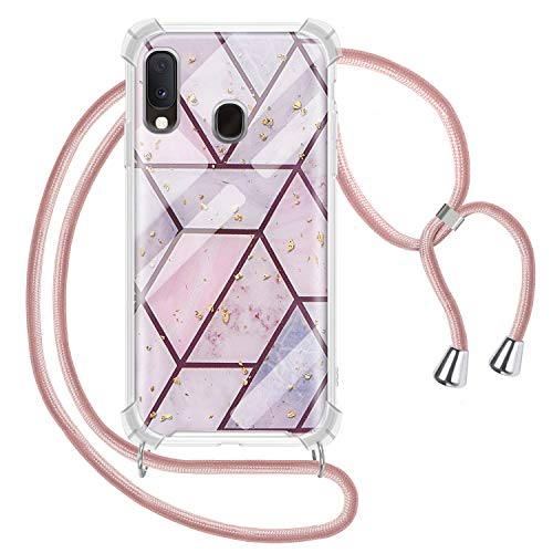 Greneric Handykette Hülle für Samsung Galaxy A40, Marmor Glitzer Necklace Hülle mit Kordel Transparent Silikon Handyhülle mit Kordel zum Umhängen Schutzhülle mit Band in Roségold