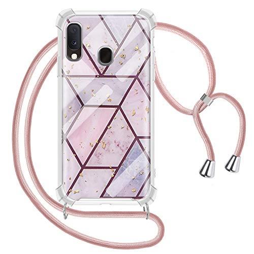 Greneric Handykette Hülle für Samsung Galaxy A20E, Marmor Glitzer Necklace Hülle mit Kordel Transparent Silikon Handyhülle mit Band zum Umhängen Schutzhülle mit Band in Roségold