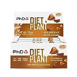 PhD Nutrition Diet Barritas Veganas de Proteínas para Dietas de Perder Peso, Caja de 12 barritas sabor Chocolate con Leche y Caramelo Salado