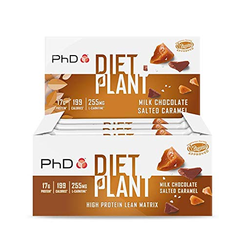 PhD Nutrition Diet Plant Protein bars- Salted Caramel (Box of 12 Bars)
