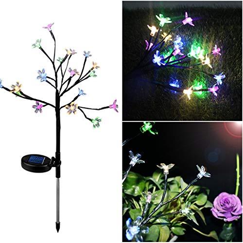 Moent Luz LED Energía Solar Flor de Cerezo Luz LED Jardín al Aire Libre Jardín Césped Lámpara de Paisaje
