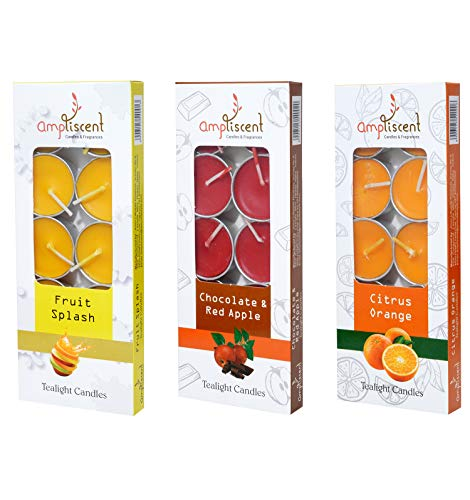 Ampliscent Tea Lights Candles Aromatherapy Candle Natural Soy Wax for Candle Holder and Gift Set (Chocolate Red Apple + Fruit Splash + Citrus Orange) (Pack of 3, Total 30 Candles)