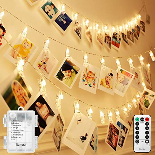 Decute 50LED Photo Clips String Lights Holder Timer Function 8 Modes Dimmable with Remote, Fairy Starry Lights for Christmas Card Bedroom Wedding Party Hanging Photos Pictures Memos, Warm White