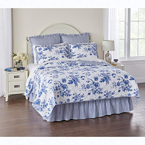 BrylaneHome Frances 6-Pc. Quilt Set - King, Blue White
