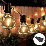 Ibello Cadena de luces para exterior e interior G40, iluminación 25 bombillas con 2 bombillas de repuesto 7,6 m, IP44, resistente al agua, para balcón, jardín, boda, fiesta, Navidad