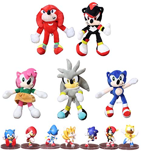 Juguetes Sonic 12 unids / Lote Amarillo Sonic Juguetes de Peluche muñeca de Dibujos Animados Anime Peluche muñecos de Peluche Suaves para niños Regalo 2019 Nuevo