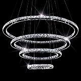 SEFINN FOUR LED Chandelier Oval 60 inch Length 35 inch Outer Diameter Modern Flush Mount Crystal Ceiling Pendant Lights, Round 4 Rings(30+50+70+90)