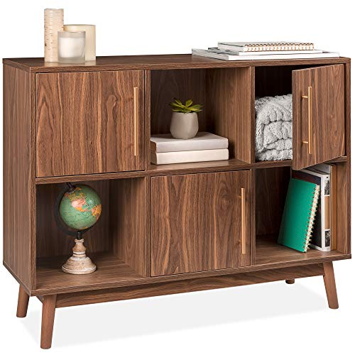 Best Choice Products 6-Shelf Mid-Century Modern Multipurpose Wood Entertainment Media TV Storage Stand Console Table for Entryway, Hallway, Living Room w/Offset Legs, Cabinet Doors