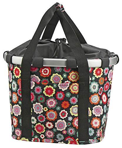 KlickFix Unisex– Erwachsene Happy Flowers Fahrradkorb, Bunt, 15 Liter