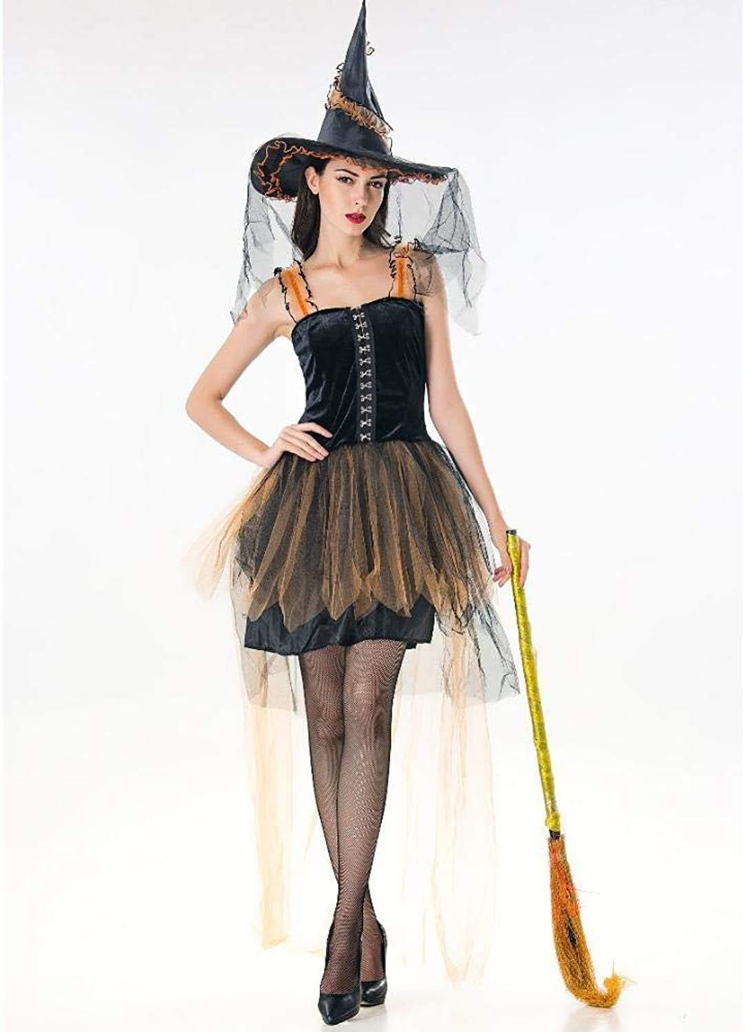 Yunfeng Witch Costume Witch Costume Halloween Costume Female Vampire Witch Skirt Lady Role Play Masquerade Costume