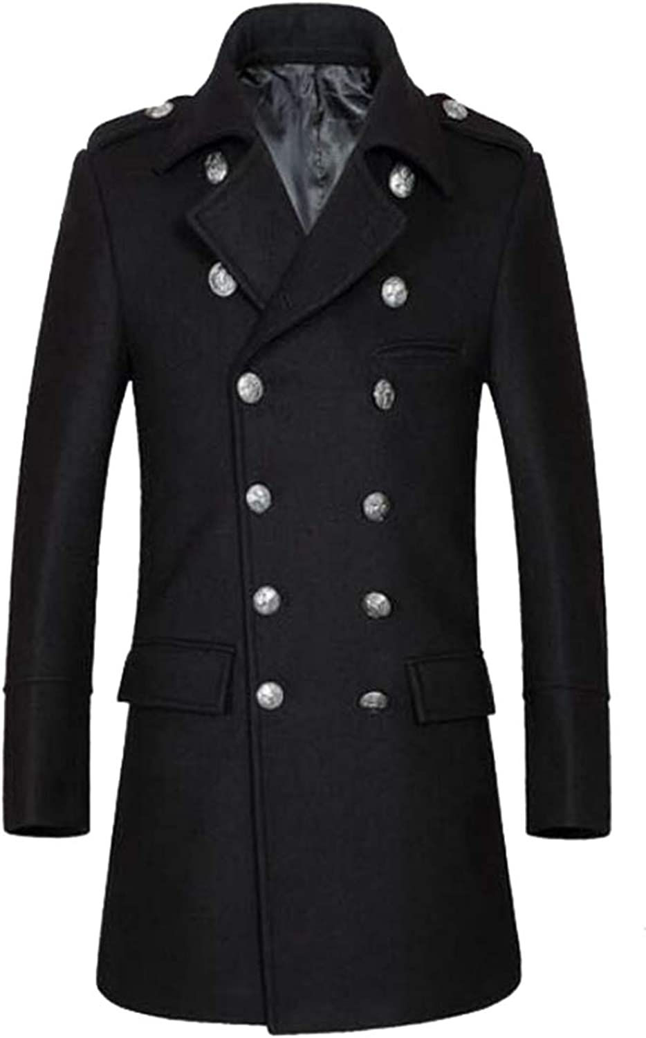 GAGA Men's Double Breasted Belted Long Jacket Trench Coat Overcoat Outwear