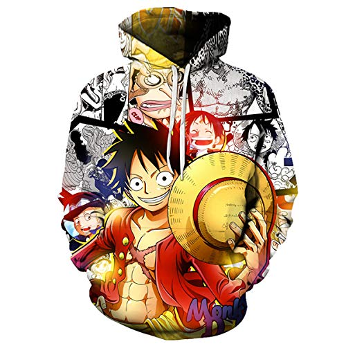 Lontse Anime One Piece Hoodie Monkey D Luffy Novelty 3D Printed Hoodies Pullover Sweatshirt (Multicolored1,XL)