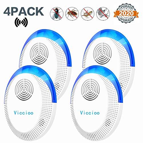 Viccioo 4Pcs Repelente Ultrasónico Mosquitos,Electrónico Repelente Ultrasónico Plagas Repelente Insectos Interiores Control de Plagas para Cucarachas Pulgas Moscas Arañas Hormigas Ratones Ratas