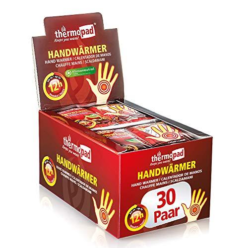 THERMOPAD Handwärmer – DAS ORIGINAL: 30 Paar Wärmepads für 12 Stunden Wärme I Sofort einsatzbereite Taschenwärmer I Extra warmes Heatpad – ideal für Outdoor-Aktivitäten & Handschuhe I Hand-Wärmekissen
