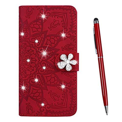 TOUCASA Cover per Huawei Honor 7X,Flip Custodia [Glitter Diamond] PU Pelle Portafoglio Unico Sottile Funzione TPU Antiurto Flip Cover a Libro Custodie Protettivo (Rosso)