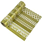 EDGEAM 10 Rollos Washi Tape Set Dorado Cinta adhesiva decorativa papel de bricolaje Álbum...