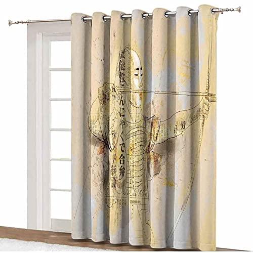 Cortinas opacas japonesas para puerta de patio, arquero en un combate, dibujadas a mano, arte marcial, cultura asiática, ilustración térmica, opaca, 255 x 275 cm, para sala de estar y oficina