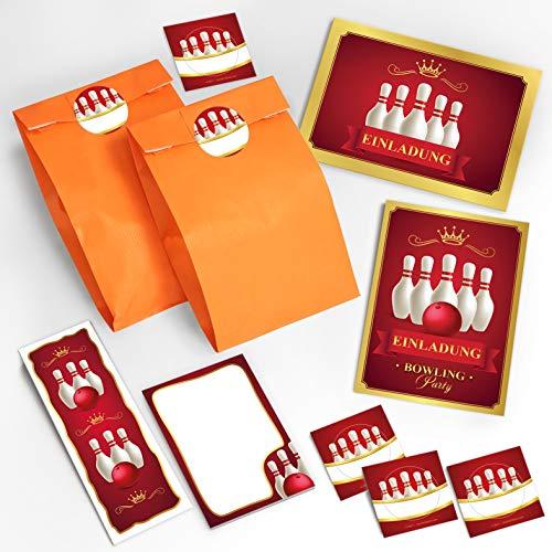 JuNa-Experten 8 Einladungskarten zum Kindergeburtstag Bowling für Mädchen Jungen / Geburtstagseinladungen incl. 8 Umschläge, 8 Tüten / orange, 8 Aufkleber, 8 Lesezeichen, 8 Notizblöcke