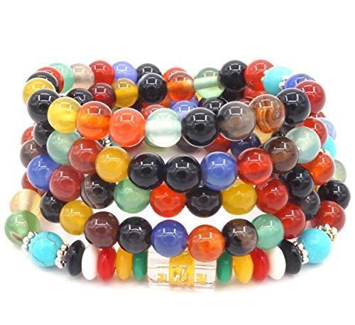 ChicJ&Y 6 MM 108 Granos de Oración Ágata de Colores Seis Palabras Pulsera Mantra Budista Tibetano Buda Meditación Collar Mala Pulsera