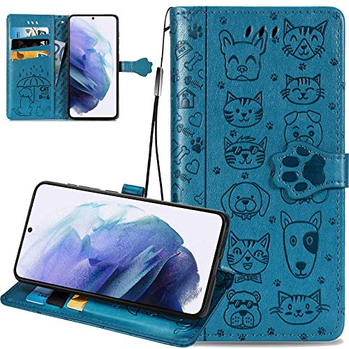 Samsung Galaxy S21 Ultra 5G Cartoon Girl Wallet Case,CCSmall Cat Dog Style Flip Phone Cover with ID Card Holder & Kickstand PU Leather Magnetic Clasp Cases for Samsung Galaxy S21 Ultra 6.8' MG Blue
