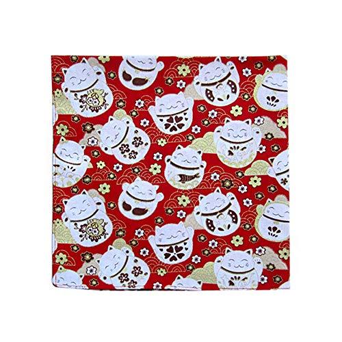 Pañuelo japonés Pañuelo Algodón Pañuelo para Bento Almuerzo envolviendo Tenugui - Gato suertudo