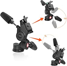 Tripod Pan Head and Tilt Head Professional 3 Way Pan with 1/4-Inch Threaded Quick Release Plate for Tripod, Monopod, Camera Slider, DSLR Camera, Camcorder